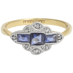 Art Deco Ring with French Cut Sapphires and Rose Cut Diamonds