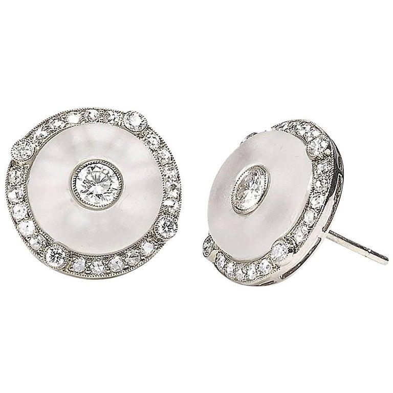 Rock Crystal and Diamond Earrings