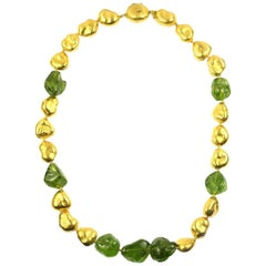 Julius Cohen 24 Karat Gold and Peridot Nugget Necklace