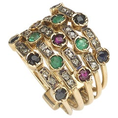 Multi Row Gemstone Ring
