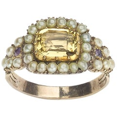 Georgian Citrine and Pearl Mourning Ring