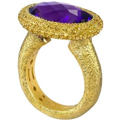 Alex Soldier Amethyst Sapphire Yellow Gold Textured Cocktail Ring One of a Kind
