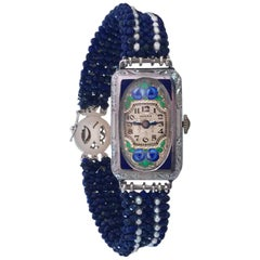 Art Nouveau Style Watch Face with Lapis Lazuli and Pearl Band by Marina J