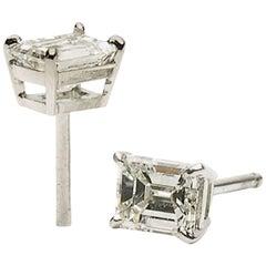Emerald-Cut Diamond Stud Earrings
