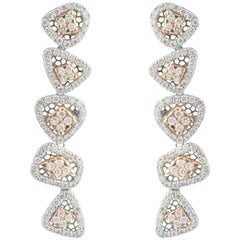 White and Rose Gold Diamond Drop Earrings 3.33 Carat