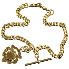Antique Victorian 18 Carat Gold Silver Albert Chain with Medallion Dated 1902