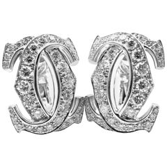 Cartier Penelope Diamond Large Double C White Gold Earrings
