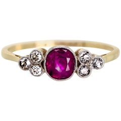 Very Sweet Petite Antique Turn of the Century Ruby and Diamond Ring