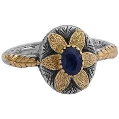 Emma Chapman Blue Sapphire 18 Karat Yellow Gold Ring