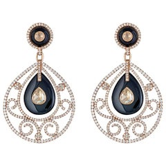 Diamond and Onyx Yellow Gold Earrings