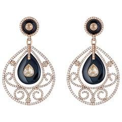 Diamond and Onyx Yellow Gold Earrings