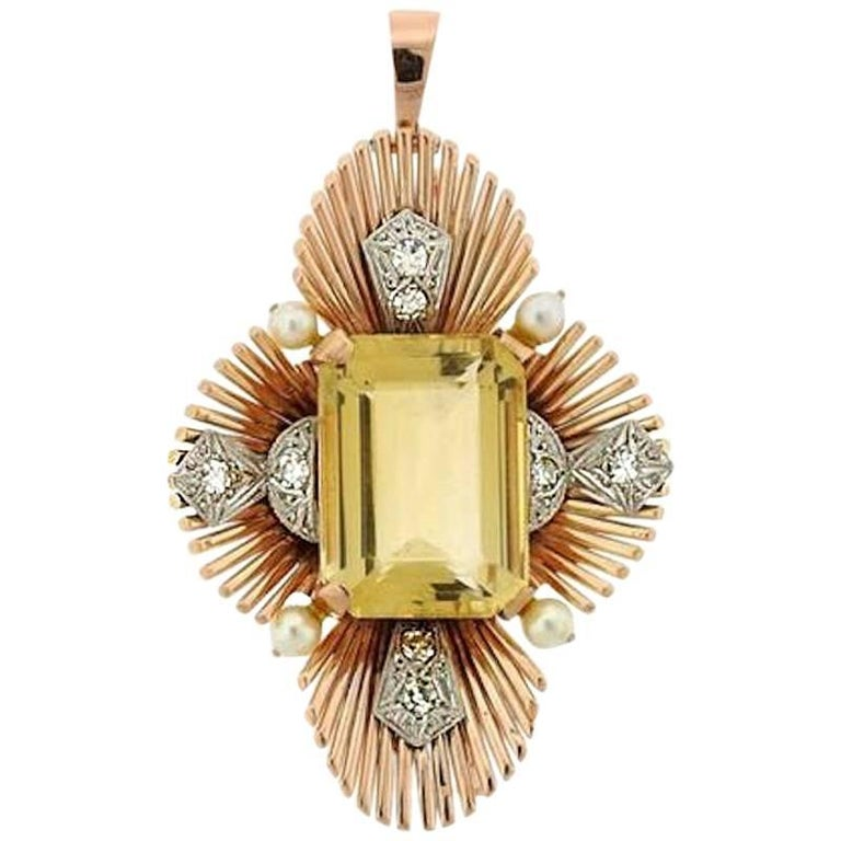 Raymond Yard 14 Karat Gold Platinum Diamond Pearl Citrine Brooch Pendant Pin