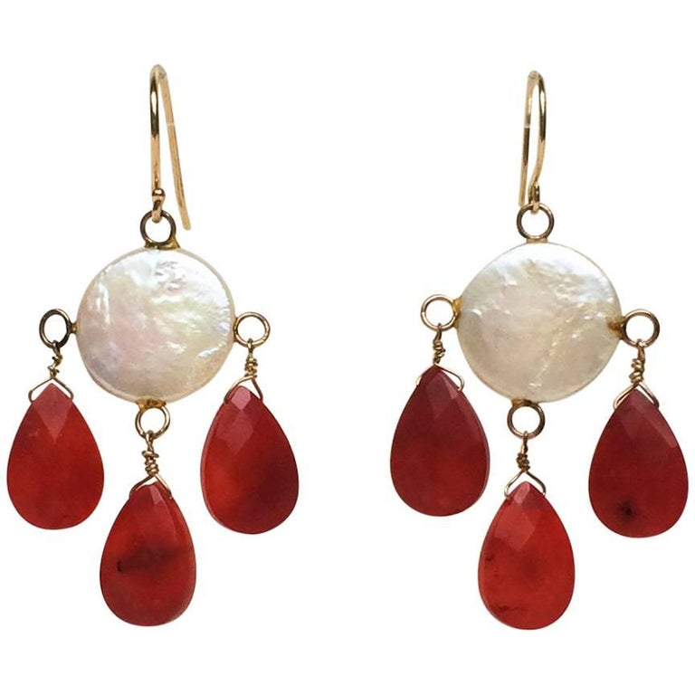 Coin Pearl and Coral Drop Earrings by Marina J