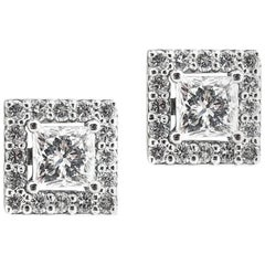 White Gold Diamond Princess Cut Halo Earrings