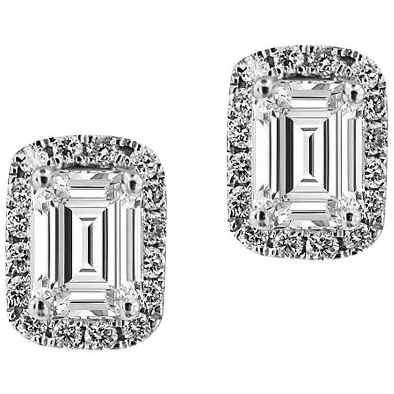 Certified White Gold Diamond Halo Earrings