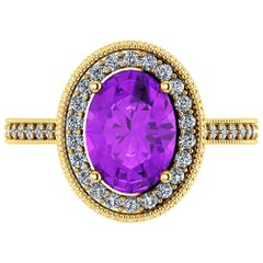Ferrucci Natural Purple Amethyst and White Diamonds 18 Karat Gold Ring