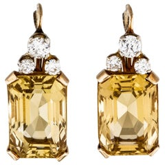 1950s 14 Karat Gold 24 Carat Citrine Diamond Drop Pendant Earrings