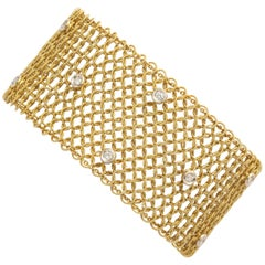 Tiffany & Co. Mesh Diamond Gold Bracelet