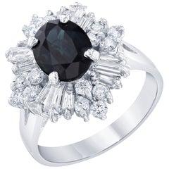 3.61 Carat Blue Sapphire Diamond Ballerina Ring