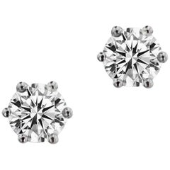 GIA Certified White Gold Brilliant Solitaire Earrings