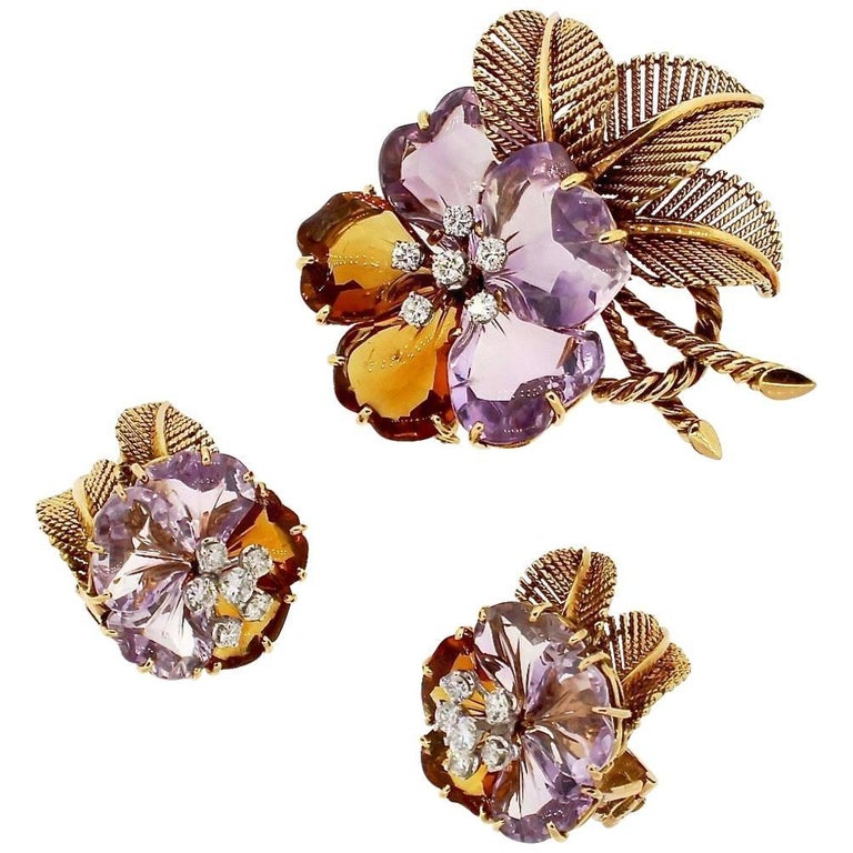 Antique Vintage Boucheron Suite of Amethyst Citrine Flower Jewelry For Sale