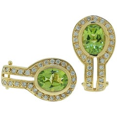 Gorgeous Color Peridot and Diamond Earrings