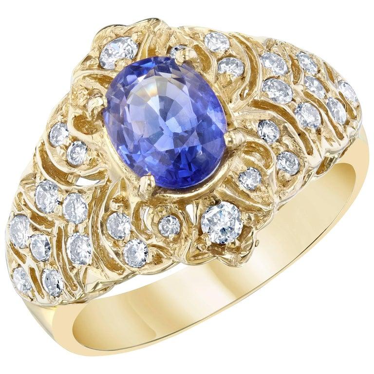 2.15 Carat Sapphire Diamond Yellow Gold Cocktail Ring
