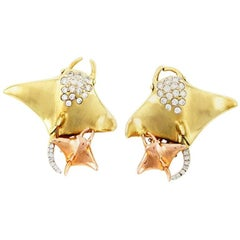 Diamond 18 Karat Yellow Gold Manta Ray Earrings by John Landrum Bryant