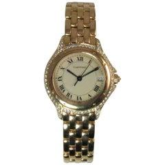 Cartier Yellow Gold Diamond Cougar Quartz Bracelet Wristwatch Ref 887907