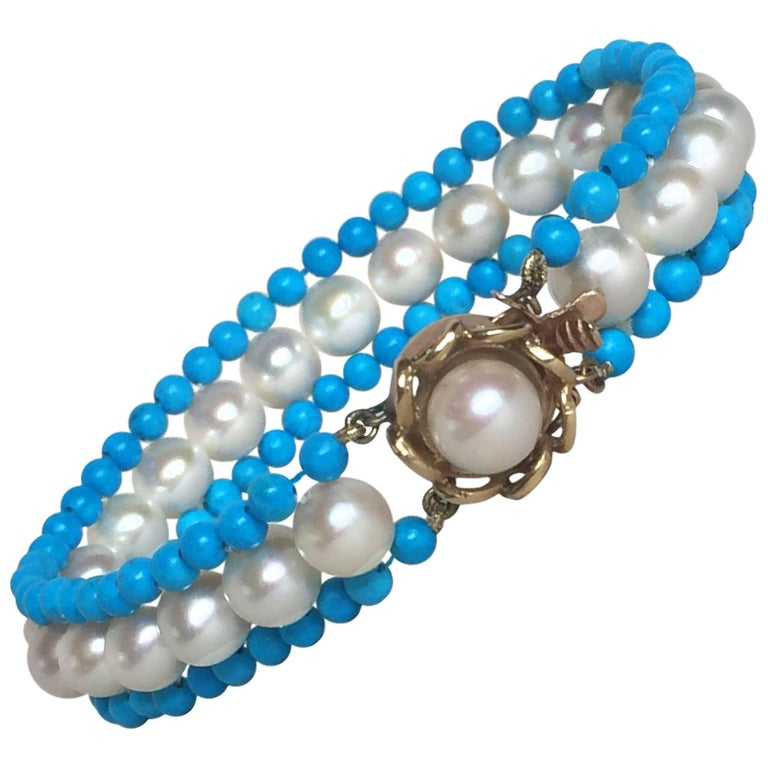 Turquoise, Pearl and 14 Karat Yellow Gold Beaded Bracelet by Marina J