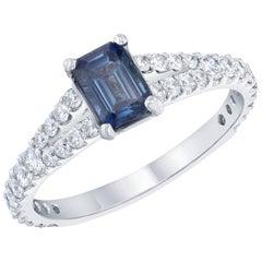 1.35 Carat Blue Sapphire Diamond Engagement Ring