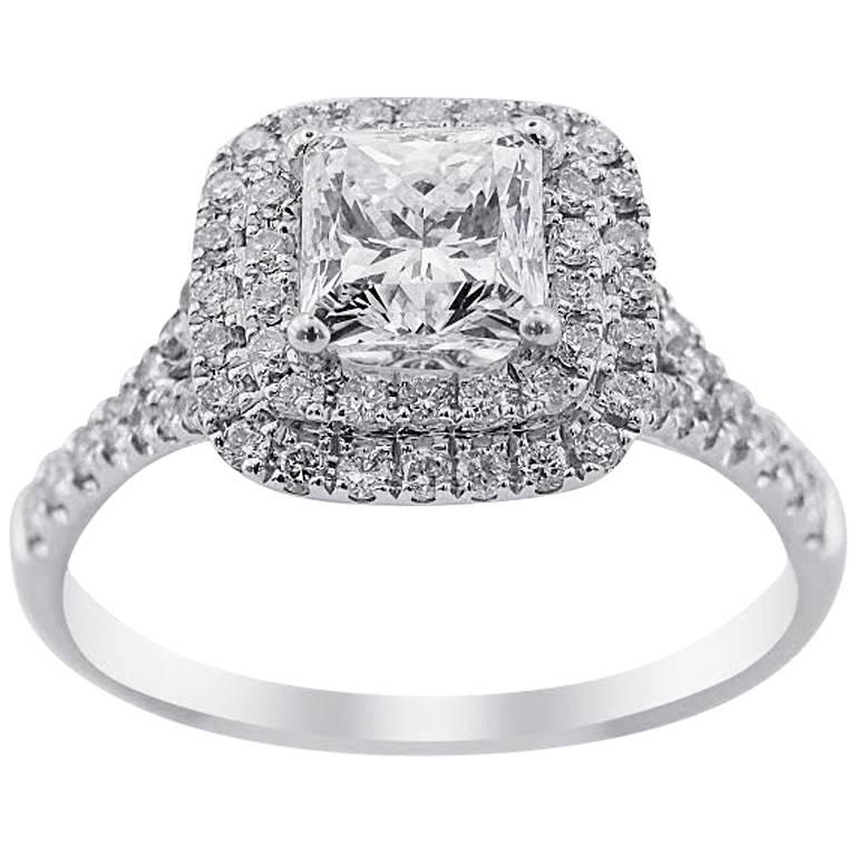 GIA Certified White Gold Halo Engagement Ring