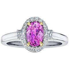 1.69 Carat Oval Pink Sapphire No-Heat and Diamond Ring