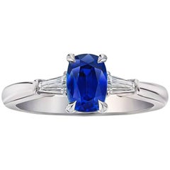 1.74 Carat Cushion Blue Sapphire and Diamond Ring