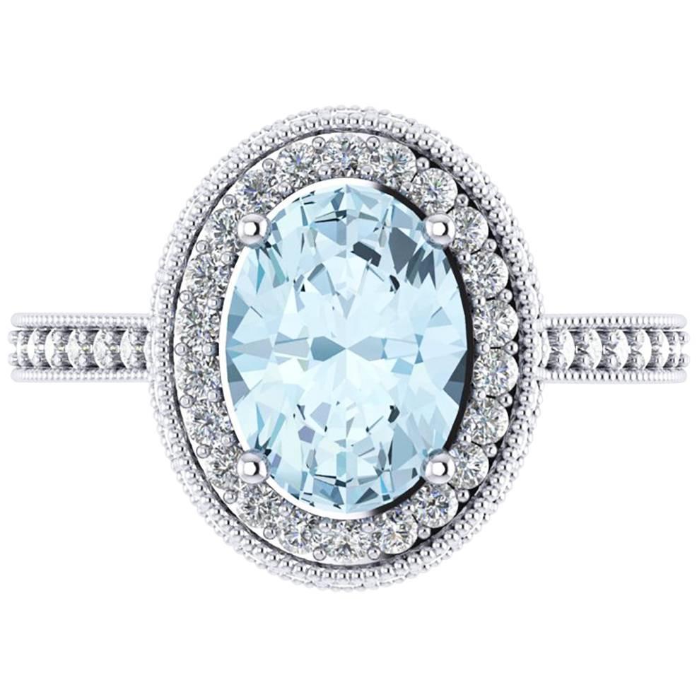 1.40 carat Natural Aquamarine White Diamonds 18k white Gold Ring