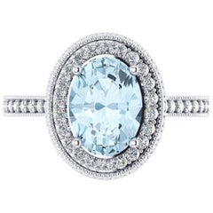 1.40 carat Natural Aquamarine White Diamonds 18k white Gold Ring
