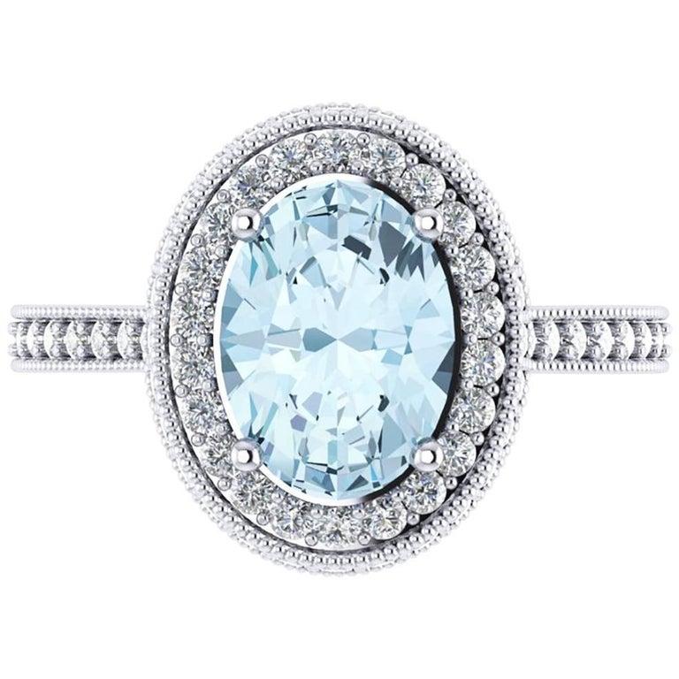 1.40 carat Natural Aquamarine White Diamonds 18k white Gold Ring For Sale