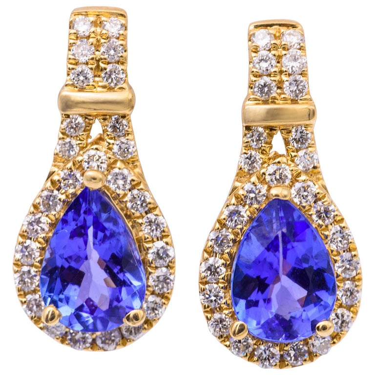 Pear Shape Tanzanite and Diamond Yellow Gold Drop Earrings