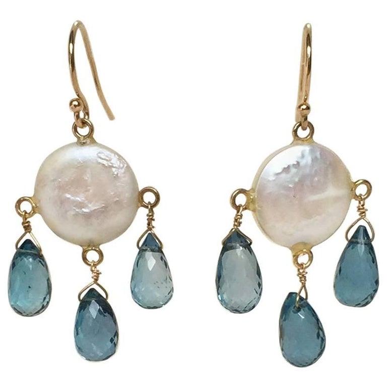 Coin Pearl, London Blue Topaz Drop Earrings with 14 Karat Gold Hook by Marina J