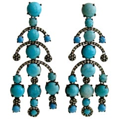 Turquoise Diamond Rhodium Silver Chandelier Earrings