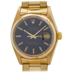 Rolex Yellow Gold Datejust Sapphire Blue Dial Automatic Wristwatch, circa 1978