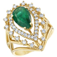 2.26 Carat Emerald Diamond Art Deco Style Ring