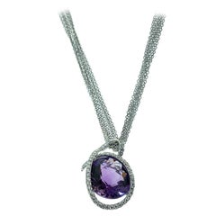 Lumiere Diamond Wrapped Amethyst Chain Necklace