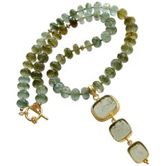 Green Moss Aquamarine Venetian Glass Intaglio Choker Necklace