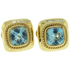 14 Karat Gold Cushion Cut Blue Topaz Earrings