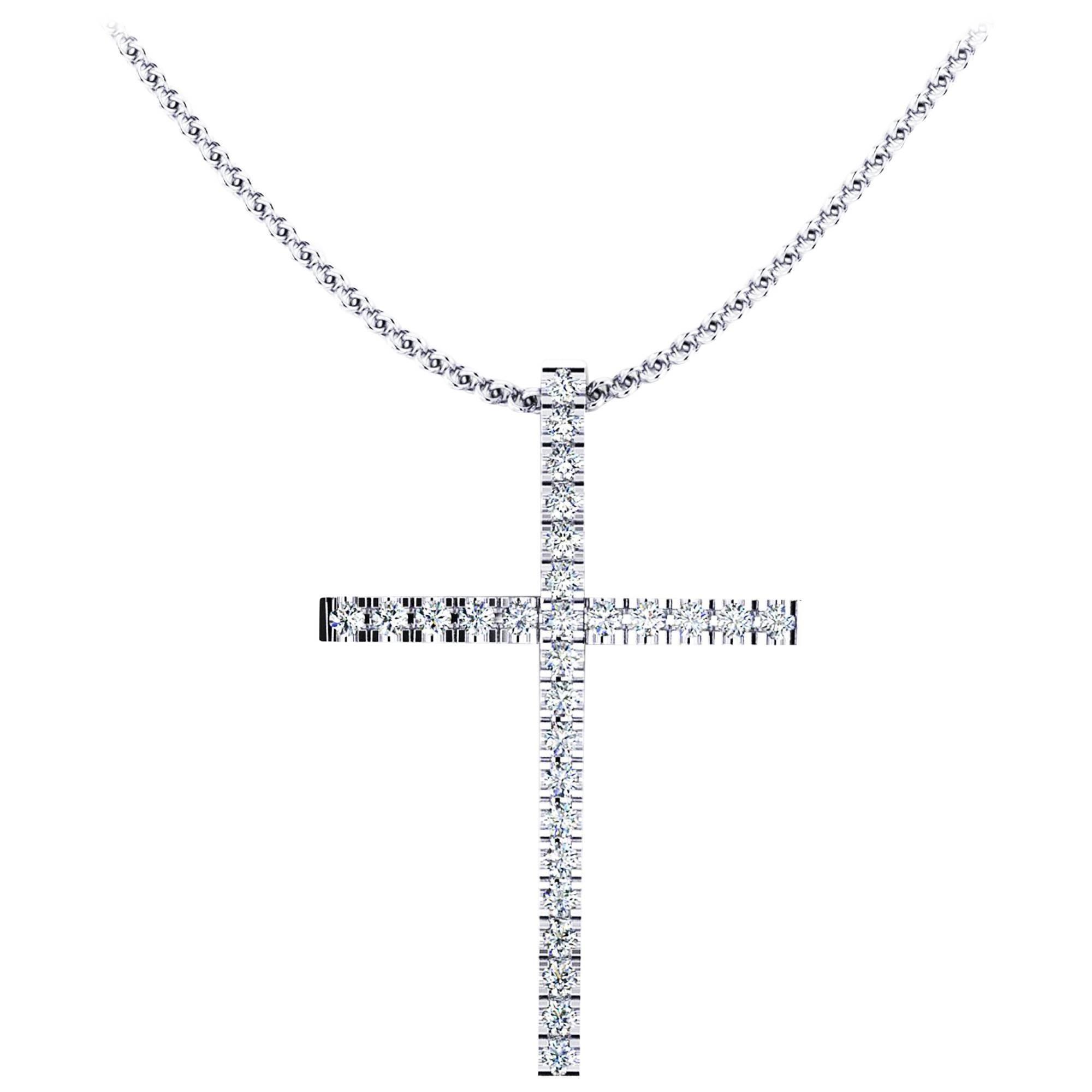 Ferrucci 0.28 Carat White Diamond Cross Necklace Made in 18 Karat Gold