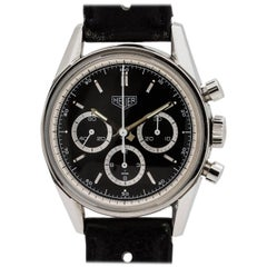 Heuer Carrera Stainless Steel Reissue Chronograph Manual Wind Wristwatch