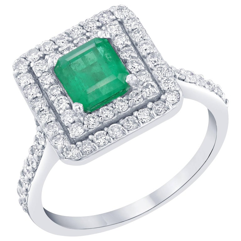 1.84 Carat Emerald Diamond Engagement Ring For Sale