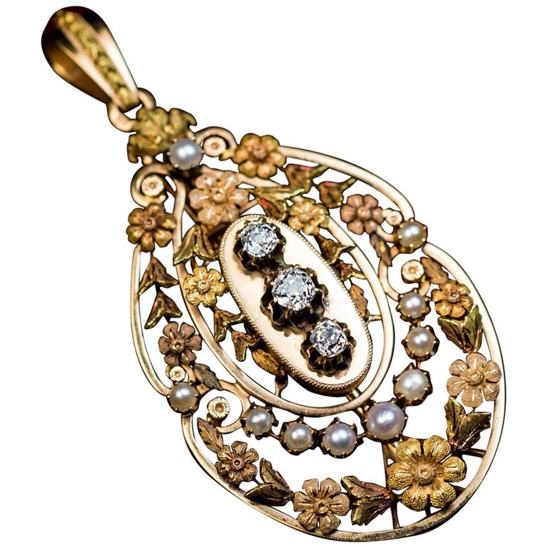 Belle Epoque Antique French Gold Diamond Pearl Pendant For Sale