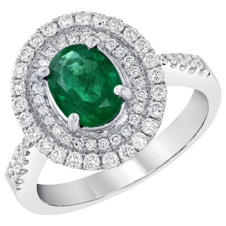 Double Halo 1.00 Carat Emerald and Diamond 18 Karat White Gold Engagement Ring